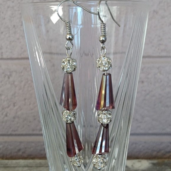 Fashion Jewelry Jewelry - Iridescent Dark Pink and White Crystal Cluster Ear